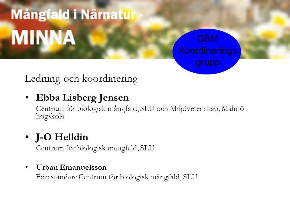 Ebba Lisberg Jensen Centrum för biologisk mångfald, SLU och Miljövetenskap, Malmö högskola J-O Helldin Centrum för biologisk mångfald, SLU Urban Emanuelsson Föreståndare Centrum för biologisk mångfald, SLU CBM Koordinerings grupp Ledning och koordinering