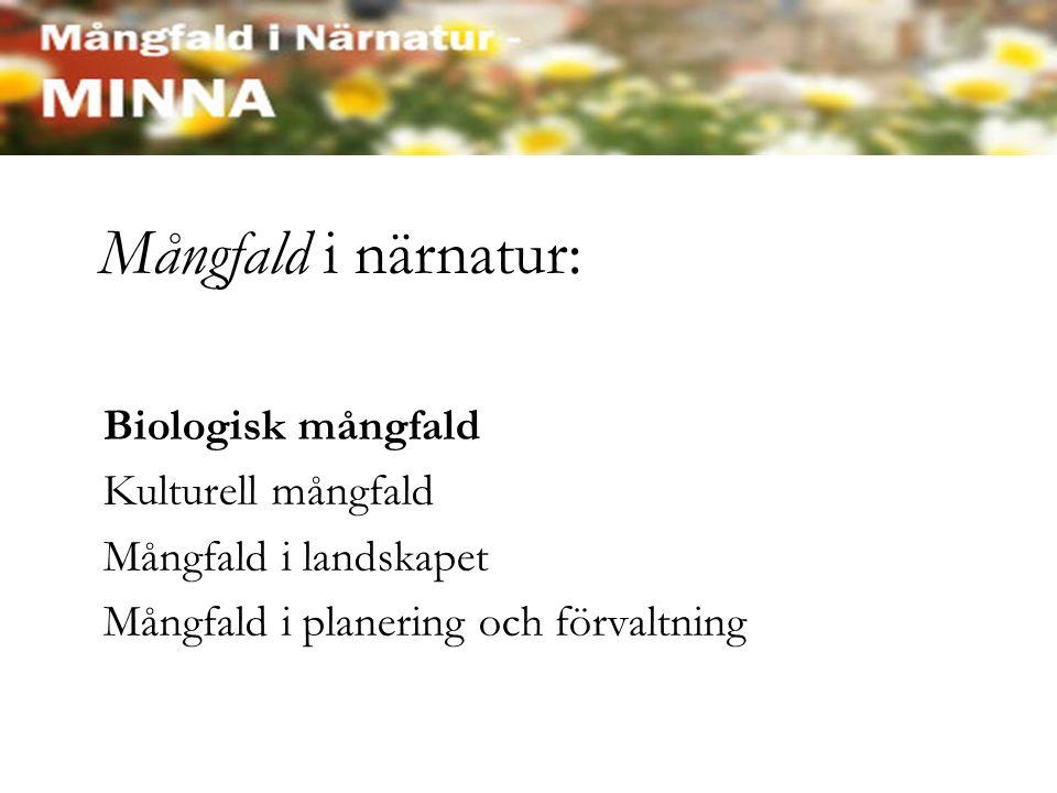 Mångfald i närnatur: Biologisk mångfald Kulturell mångfald Mångfald i landskapet Mångfald i planering och förvaltning