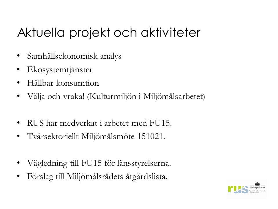 Aktuella projekt och aktiviteter Samhällsekonomisk analys Ekosystemtjänster Hållbar konsumtion Välja och vraka! (Kulturmiljön i Miljömålsarbetet) RUS