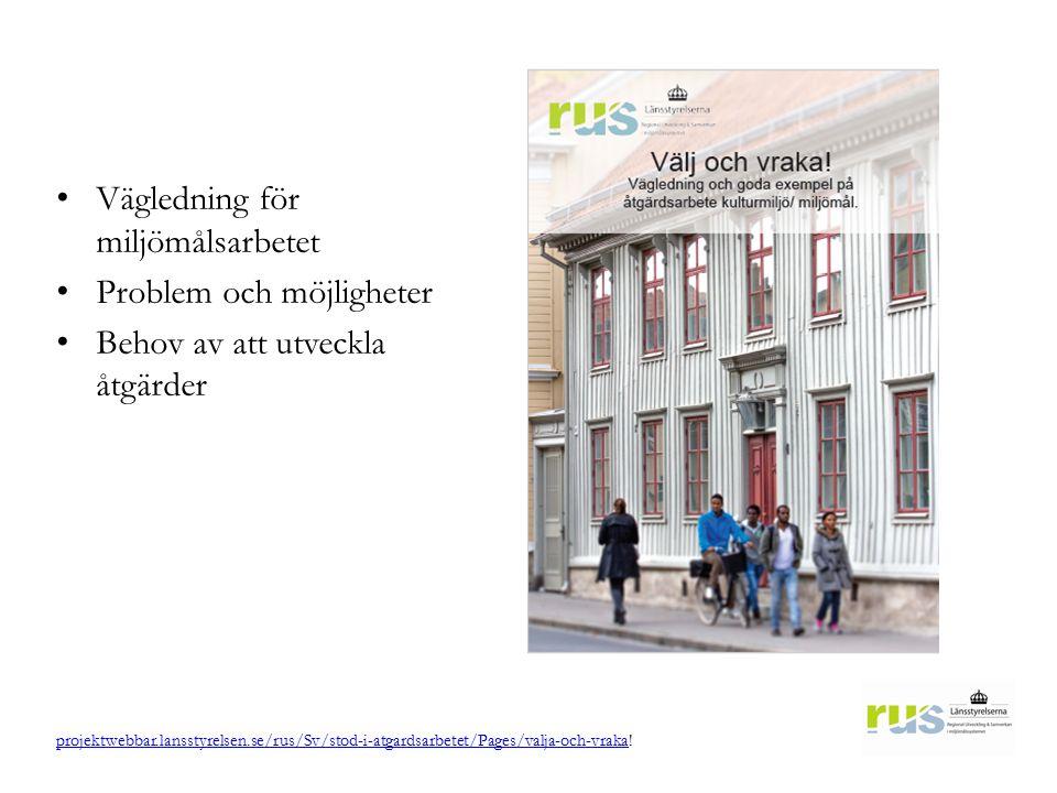 Vägledning för miljömålsarbetet Problem och möjligheter Behov av att utveckla åtgärder projektwebbar.lansstyrelsen.se/rus/Sv/stod-i-atgardsarbetet/Pag