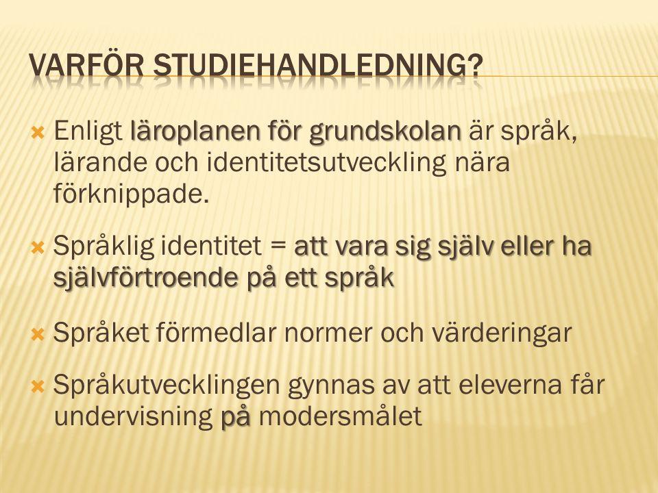 läroplanen för grundskolan  Enligt läroplanen för grundskolan är språk, lärande och identitetsutveckling nära förknippade.