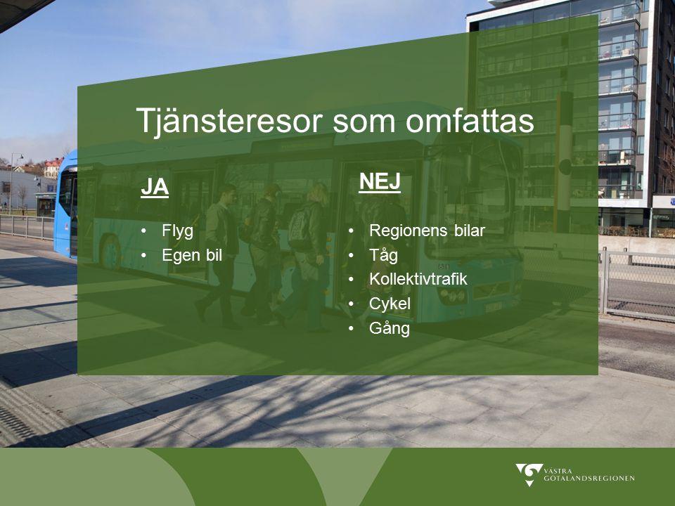Tjänsteresor som omfattas NEJ Regionens bilar Tåg Kollektivtrafik Cykel Gång JA Flyg Egen bil
