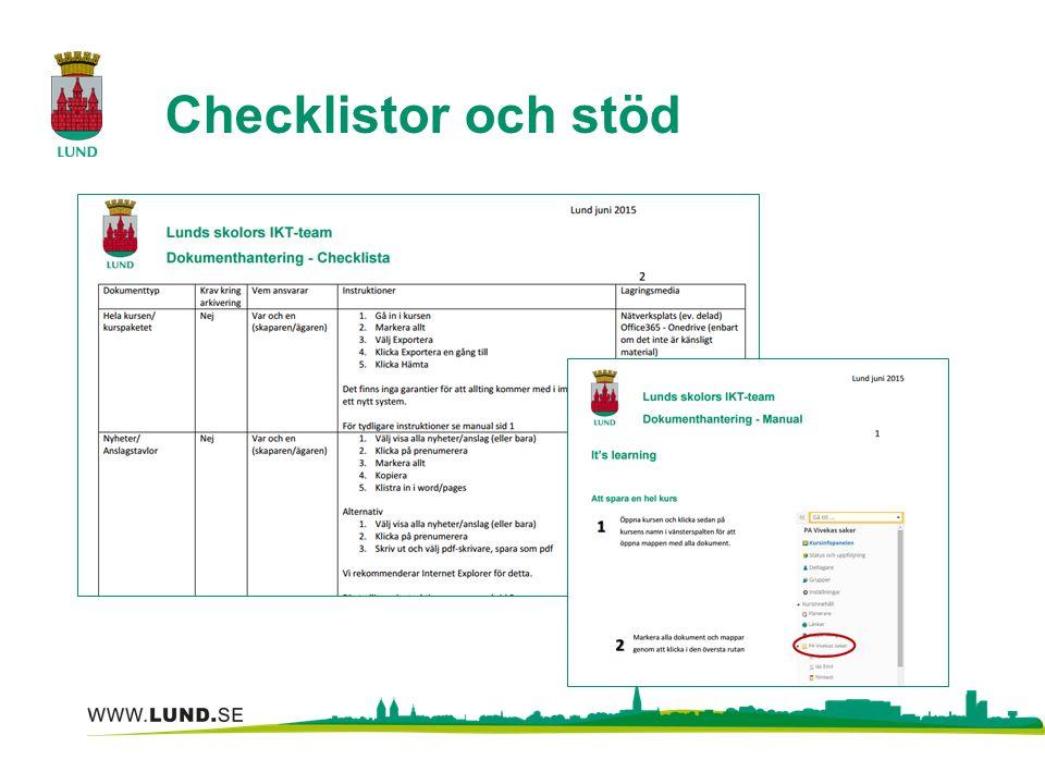Checklistor och stöd
