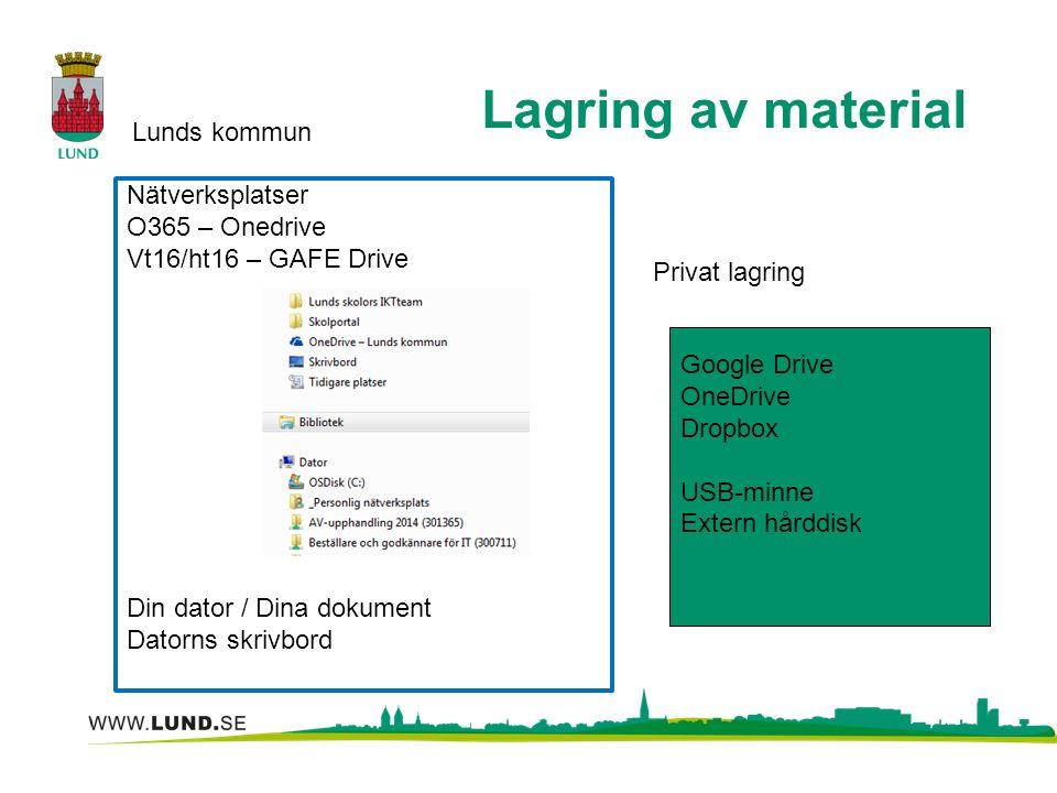 Lagring av material Lunds kommun Privat lagring Google Drive OneDrive Dropbox USB-minne Extern hårddisk Nätverksplatser O365 – Onedrive Vt16/ht16 – GAFE Drive Din dator / Dina dokument Datorns skrivbord