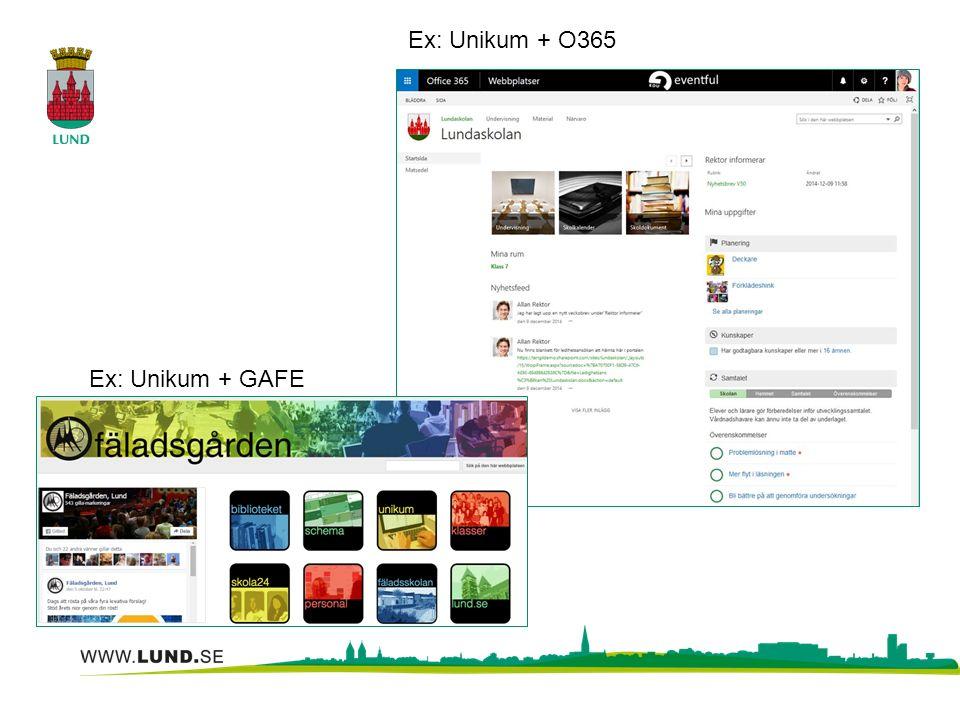 Ex: Unikum + O365 Ex: Unikum + GAFE