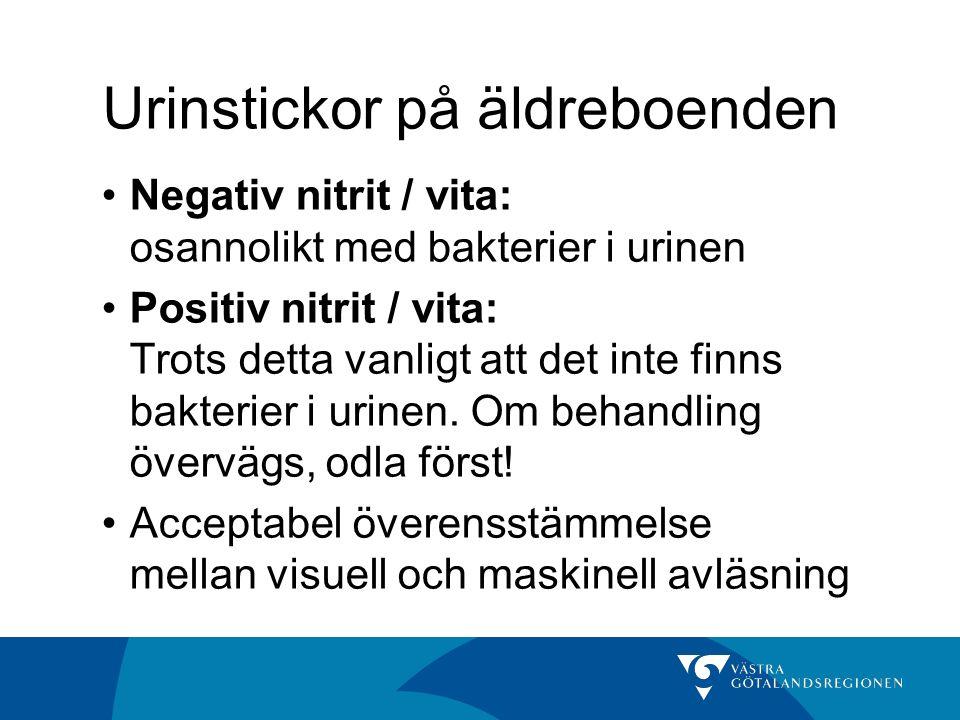 Urinstickor på äldreboenden Negativ nitrit / vita: osannolikt med bakterier i urinen Positiv nitrit / vita: Trots detta vanligt att det inte finns bak