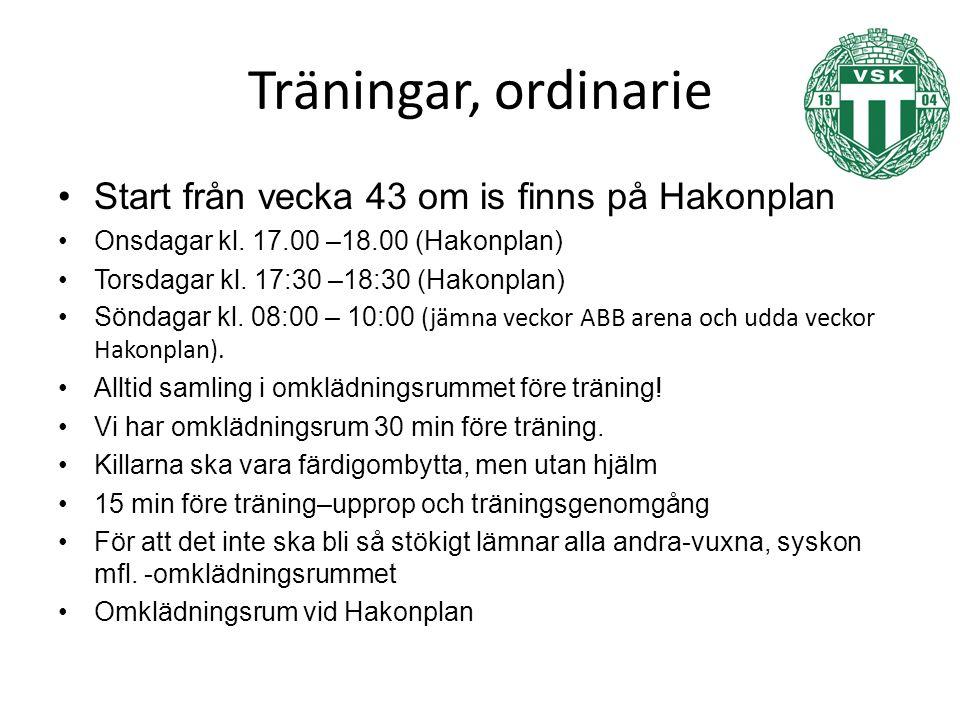 Träningar, ordinarie Start från vecka 43 om is finns på Hakonplan Onsdagar kl.
