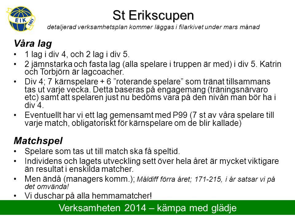St Erikscupen St Erikscupen detaljerad verksamhetsplan kommer läggas i filarkivet under mars månad Våra lag 1 lag i div 4, och 2 lag i div 5. 2 jämnst