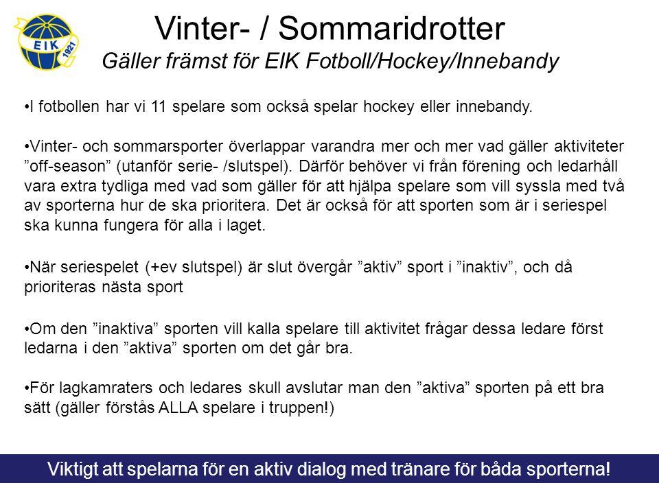 Vinter- / Sommaridrotter Gäller främst för EIK Fotboll/Hockey/Innebandy I fotbollen har vi 11 spelare som också spelar hockey eller innebandy. Vinter-