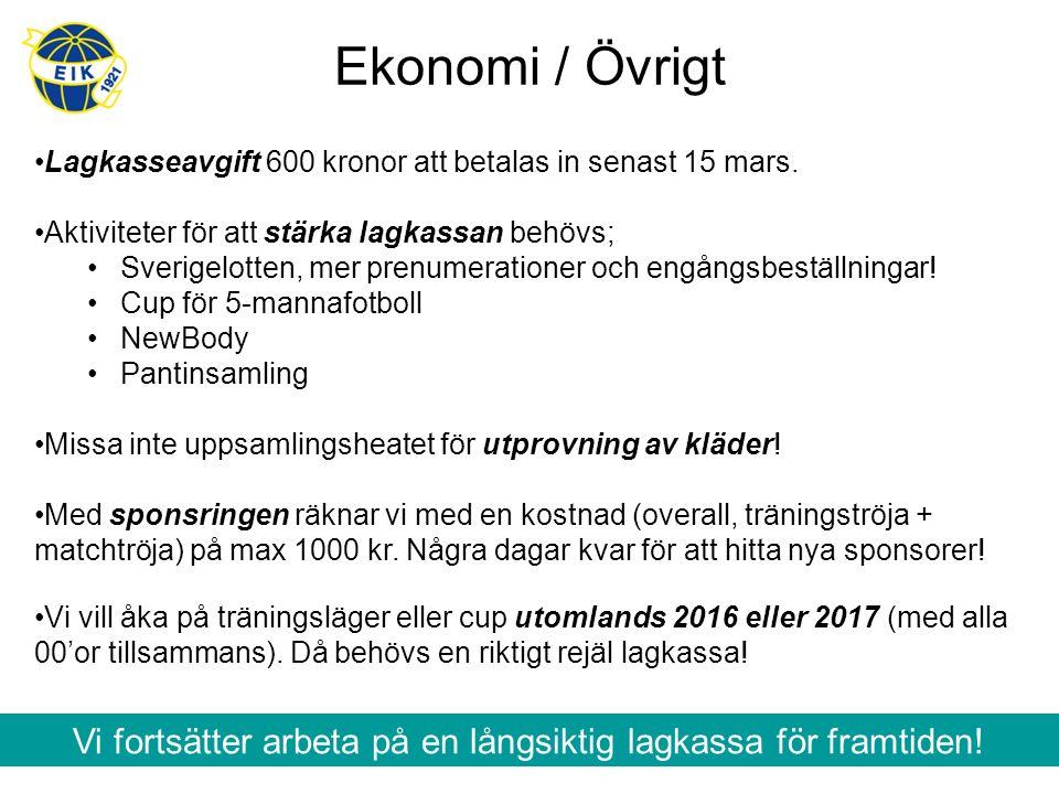 Ekonomi / Övrigt Lagkasseavgift 600 kronor att betalas in senast 15 mars. Aktiviteter för att stärka lagkassan behövs; Sverigelotten, mer prenumeratio