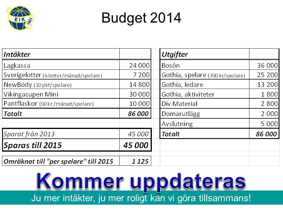 Budget 2014 Ju mer intäkter, ju mer roligt kan vi göra tillsammans!