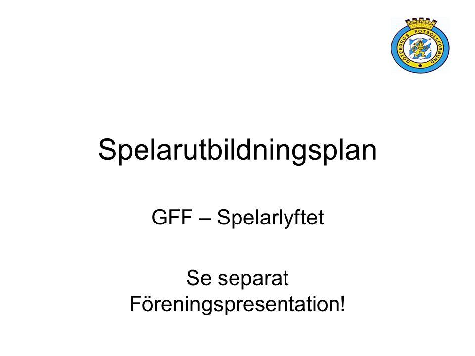 Spelarutbildningsplan GFF – Spelarlyftet Se separat Föreningspresentation!