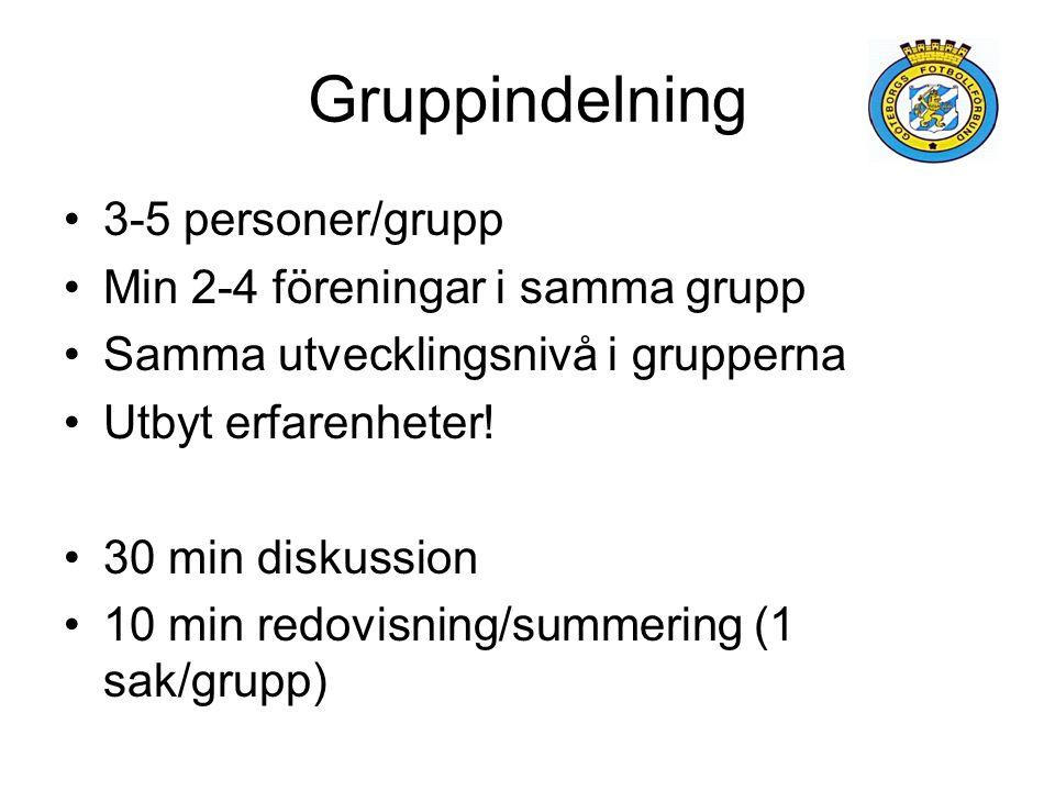 Gruppindelning 3-5 personer/grupp Min 2-4 föreningar i samma grupp Samma utvecklingsnivå i grupperna Utbyt erfarenheter.