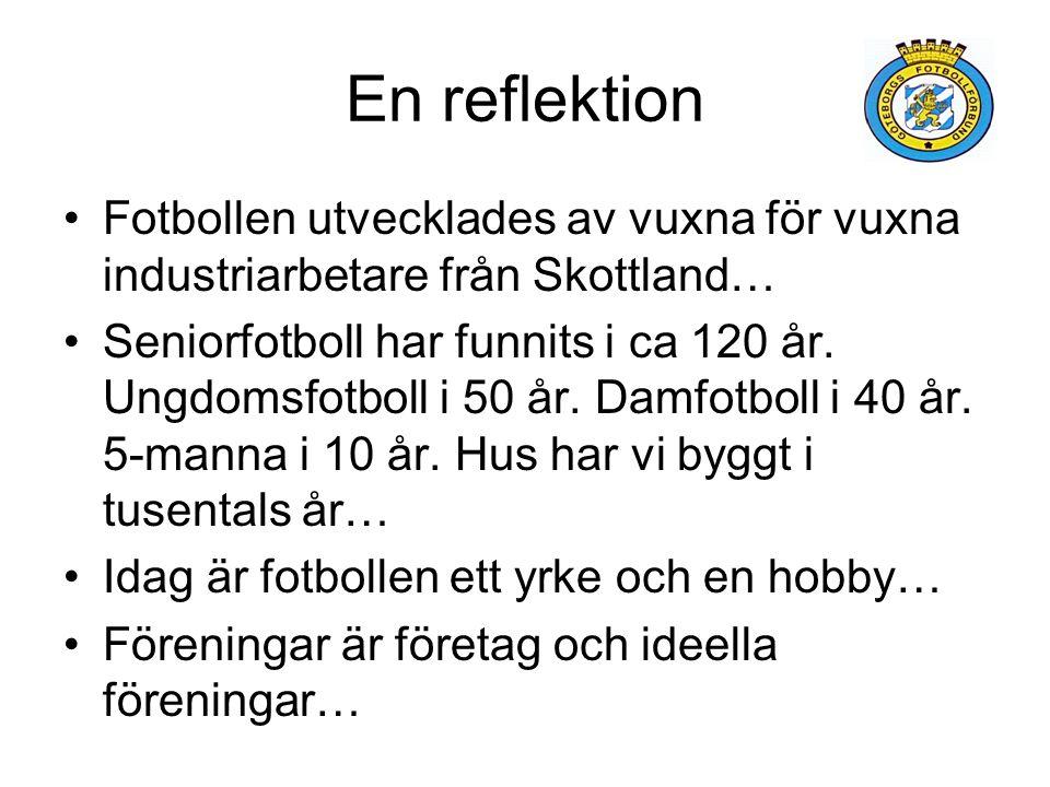En reflektion Fotbollen utvecklades av vuxna för vuxna industriarbetare från Skottland… Seniorfotboll har funnits i ca 120 år.