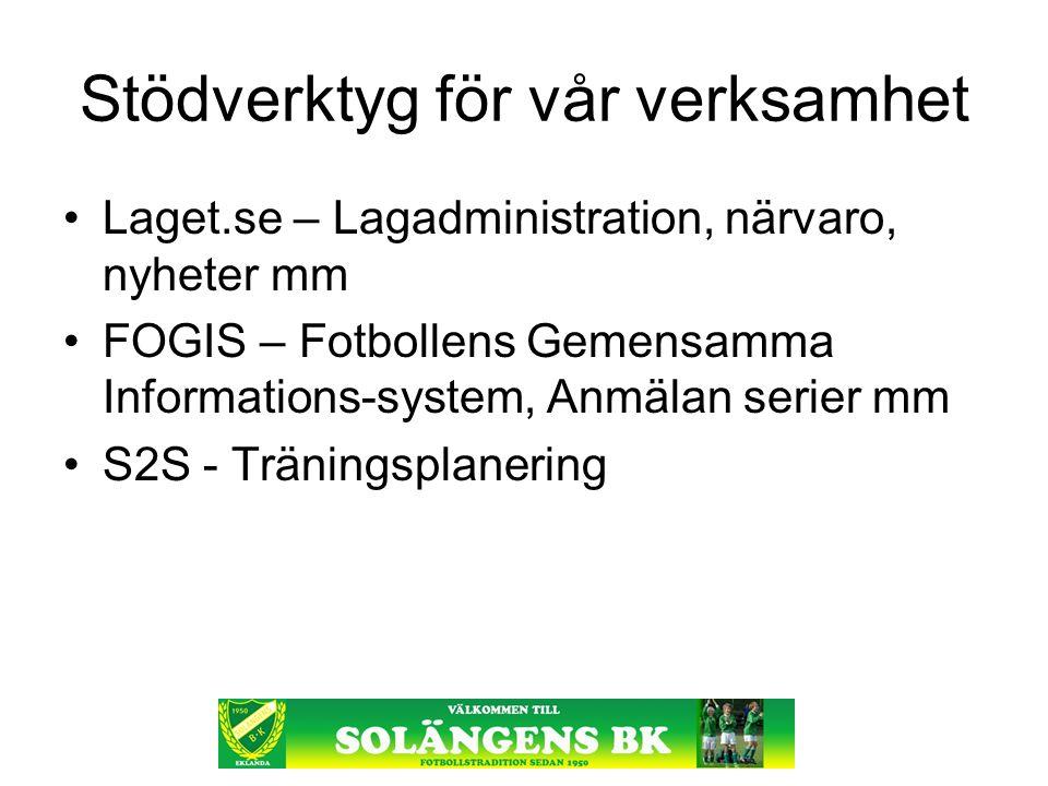 Stödverktyg för vår verksamhet Laget.se – Lagadministration, närvaro, nyheter mm FOGIS – Fotbollens Gemensamma Informations-system, Anmälan serier mm S2S - Träningsplanering