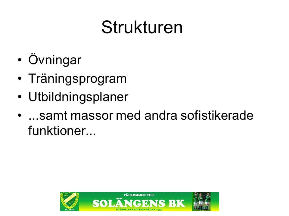 Strukturen Övningar Träningsprogram Utbildningsplaner...samt massor med andra sofistikerade funktioner...
