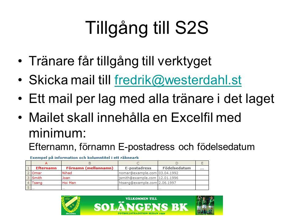 Tillgång till S2S Tränare får tillgång till verktyget Skicka mail till fredrik@westerdahl.stfredrik@westerdahl.st Ett mail per lag med alla tränare i det laget Mailet skall innehålla en Excelfil med minimum: Efternamn, förnamn E-postadress och födelsedatum