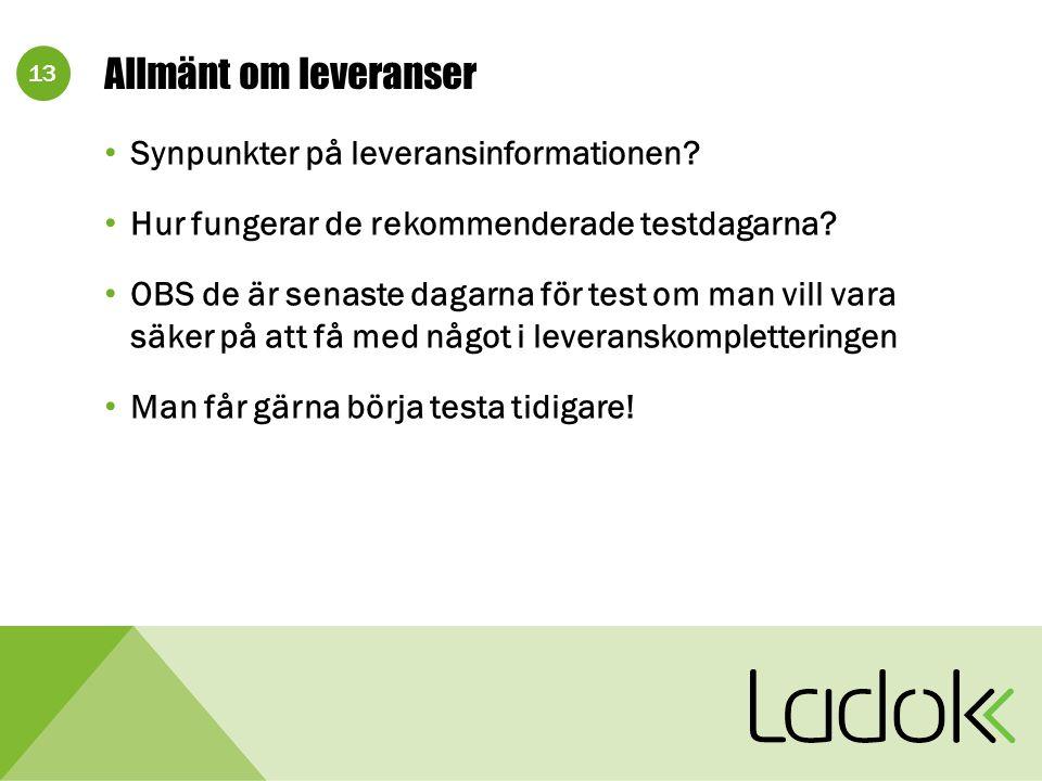 13 Allmänt om leveranser Synpunkter på leveransinformationen.