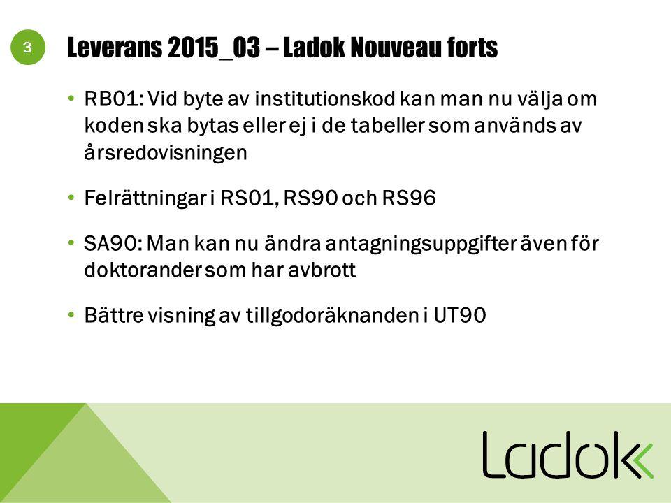 3 Leverans 2015_03 – Ladok Nouveau forts RB01: Vid byte av institutionskod kan man nu välja om koden ska bytas eller ej i de tabeller som används av årsredovisningen Felrättningar i RS01, RS90 och RS96 SA90: Man kan nu ändra antagningsuppgifter även för doktorander som har avbrott Bättre visning av tillgodoräknanden i UT90