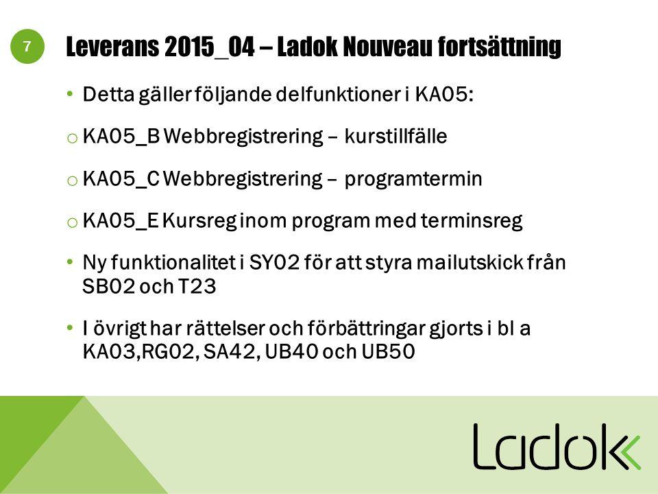 8 Leverans 2015_04 – Ladok på webb och LadokPing Anpassning till tredjepartsprodukter Översyn av meddelandetexter Korrigering av summeringar i LW01 och korrekt hantering av utresande utbytesstudenter i LW12 Felrättningar i T13, T30/TG30 och TG20 m fl Möjlighet att skicka mail när avbrott läggs in i T23/TG23 LP05: Anpassning till ny hantering i Navet m m