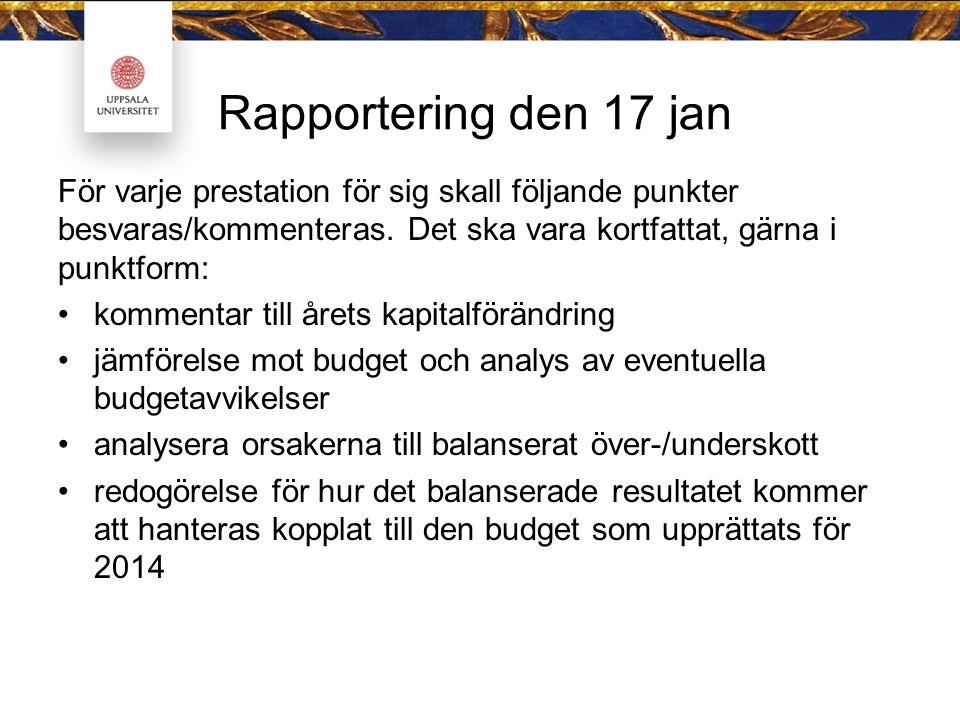 Rapportering den 17 jan För varje prestation för sig skall följande punkter besvaras/kommenteras.