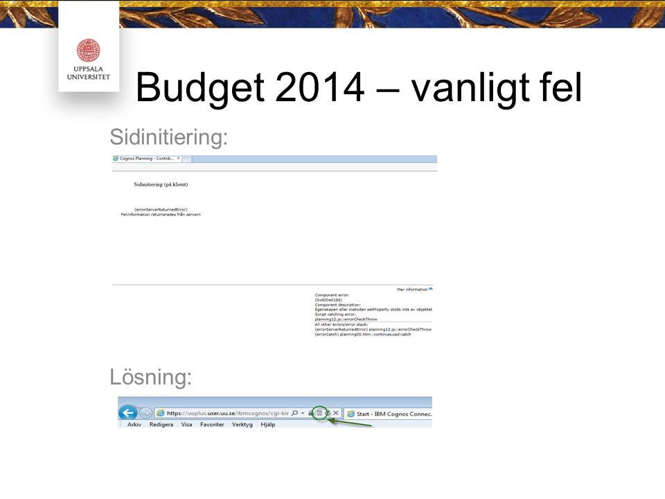 Budget 2014 – vanligt fel Sidinitiering: Lösning: