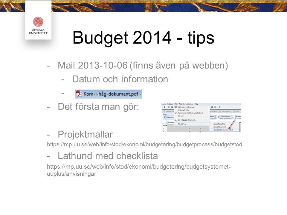 Budget 2014 - tips -Mail 2013-10-06 (finns även på webben) -Datum och information - -Det första man gör: -Projektmallar https://mp.uu.se/web/info/stod/ekonomi/budgetering/budgetprocess/budgetstod -Lathund med checklista https://mp.uu.se/web/info/stod/ekonomi/budgetering/budgetsystemet- uuplus/anvisningar