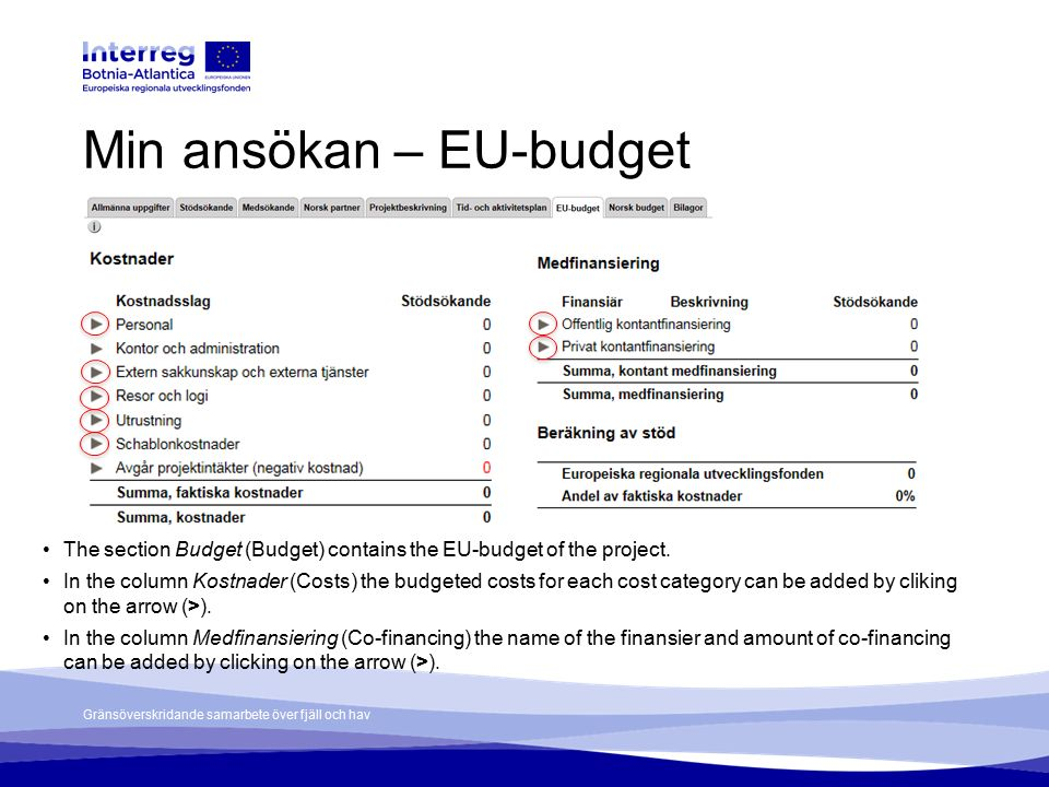 Gränsöverskridande samarbete över fjäll och hav Min ansökan – EU-budget The section Budget (Budget) contains the EU-budget of the project. In the colu