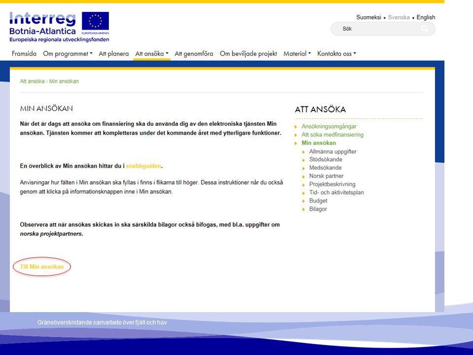 Min ansökan – Register user account To register a user account, choose Registrera konto (Register account).