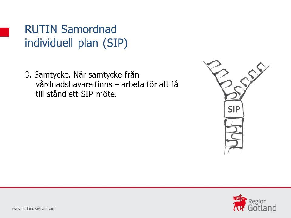 RUTIN Samordnad individuell plan (SIP) www.gotland.se/barnsam 3.