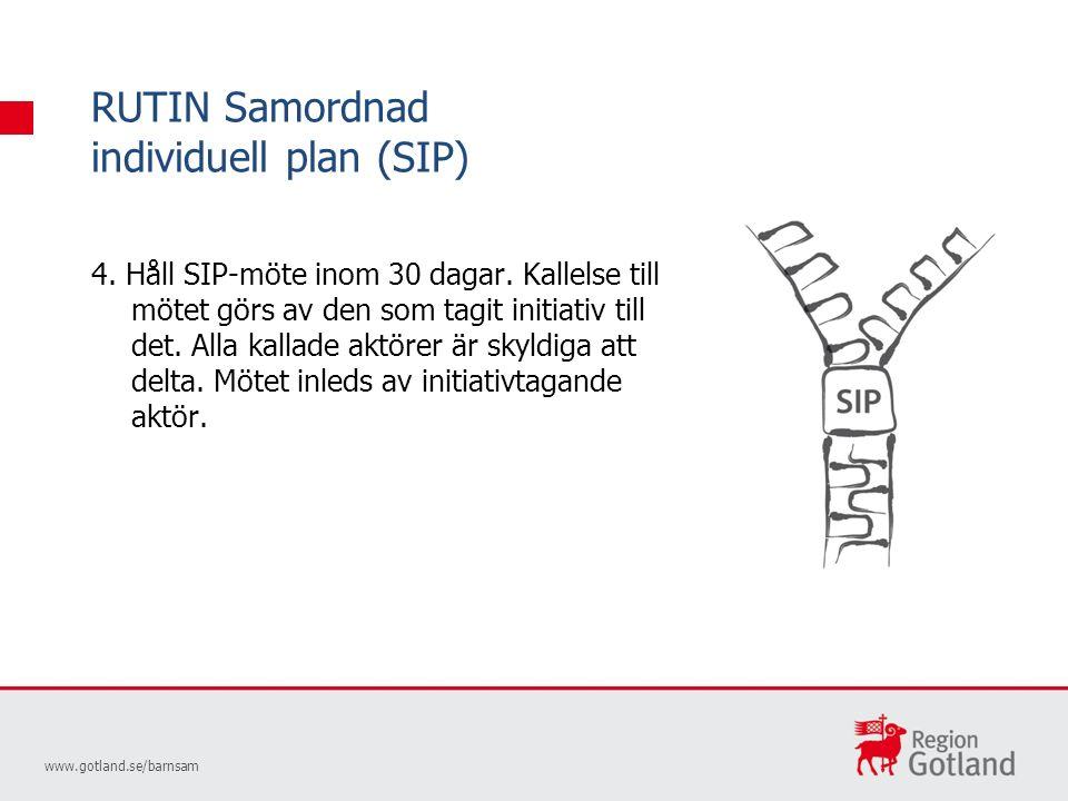 RUTIN Samordnad individuell plan (SIP) www.gotland.se/barnsam 4.