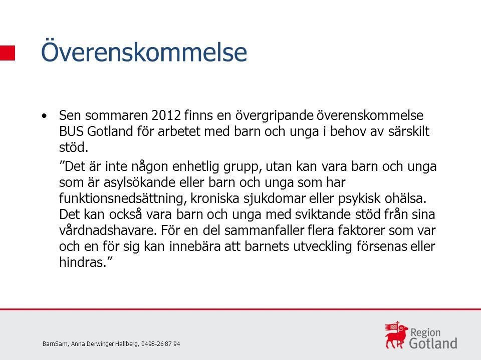 Sen sommaren 2012 finns en övergripande överenskommelse BUS Gotland för arbetet med barn och unga i behov av särskilt stöd.