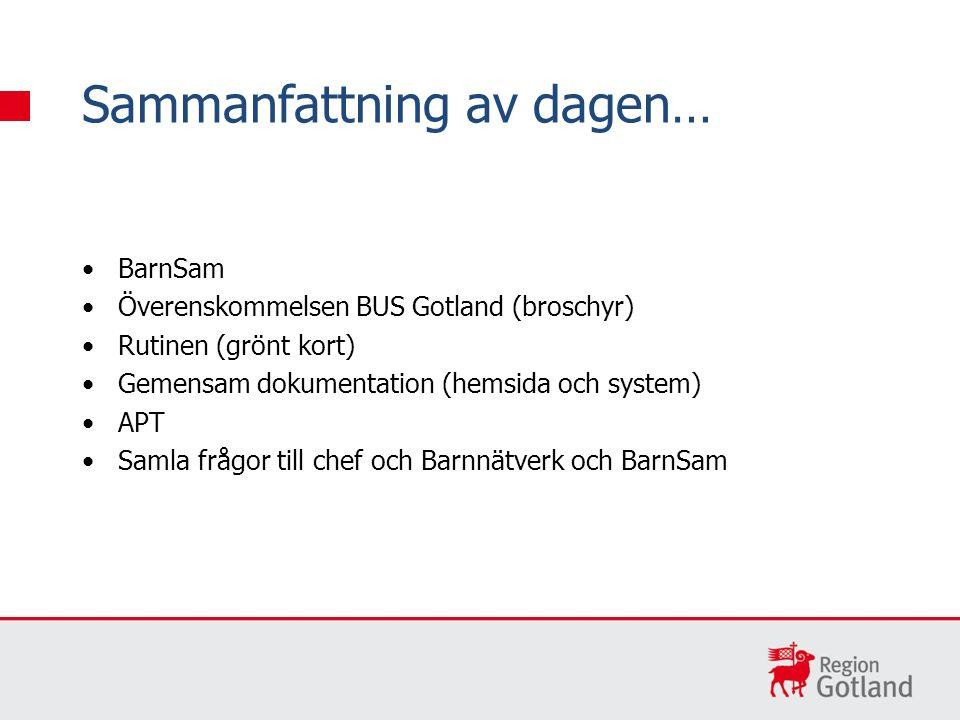BarnSam Överenskommelsen BUS Gotland (broschyr) Rutinen (grönt kort) Gemensam dokumentation (hemsida och system) APT Samla frågor till chef och Barnnätverk och BarnSam Sammanfattning av dagen…