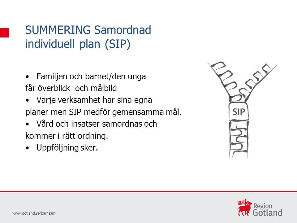SUMMERING Samordnad individuell plan (SIP) www.gotland.se/barnsam Familjen och barnet/den unga får överblick och målbild Varje verksamhet har sina egna planer men SIP medför gemensamma mål.