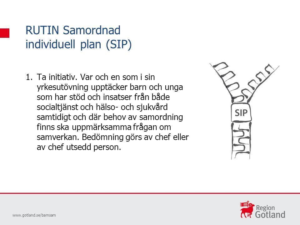 RUTIN Samordnad individuell plan (SIP) www.gotland.se/barnsam 1.Ta initiativ.