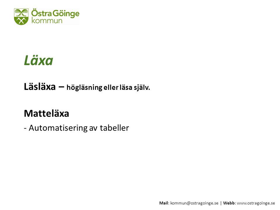 Mail: kommun@ostragoinge.se | Webb: www.ostragoinge.se Text här Läxa Läsläxa – högläsning eller läsa själv. Matteläxa - Automatisering av tabeller