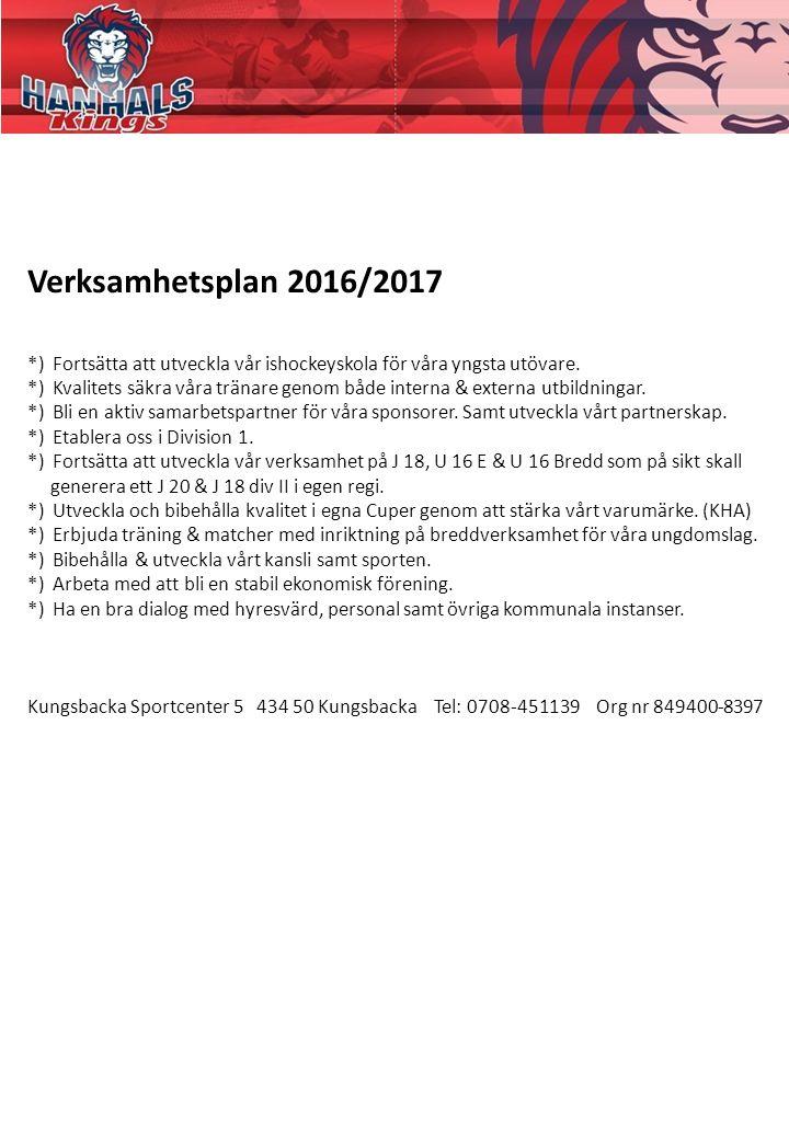 Verksamhetsplan 2016/2017 *) Fortsätta att utveckla vår ishockeyskola för våra yngsta utövare.