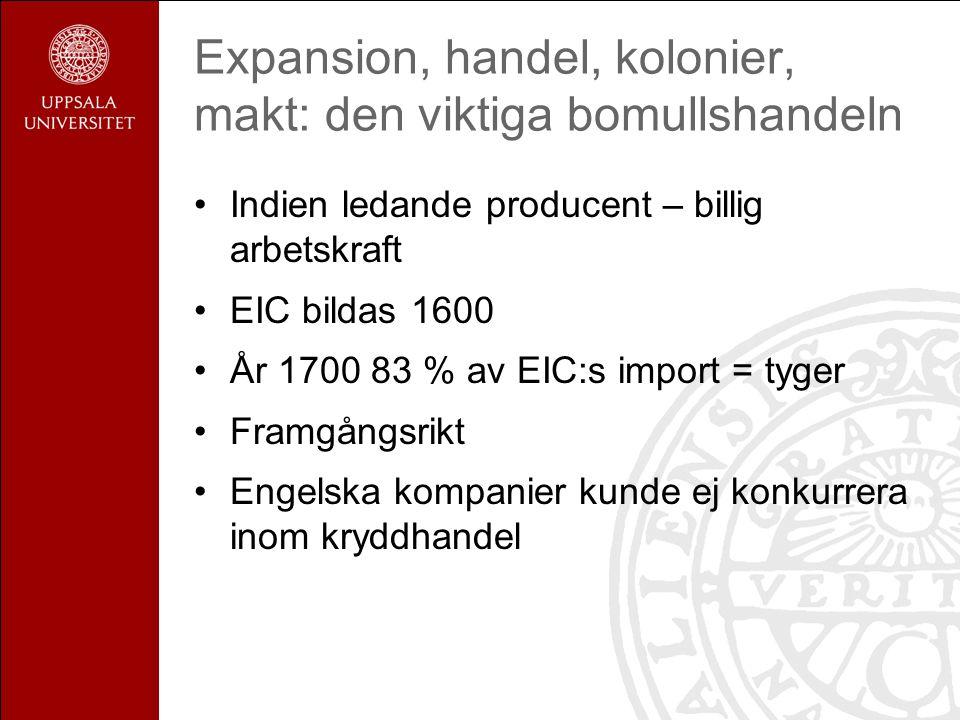 Expansion, handel, kolonier, makt: den viktiga bomullshandeln Indien ledande producent – billig arbetskraft EIC bildas 1600 År 1700 83 % av EIC:s import = tyger Framgångsrikt Engelska kompanier kunde ej konkurrera inom kryddhandel