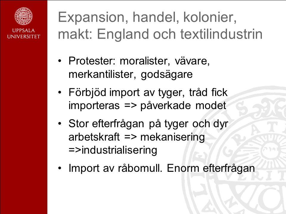 Expansion, handel, kolonier, makt: England och textilindustrin Protester: moralister, vävare, merkantilister, godsägare Förbjöd import av tyger, tråd