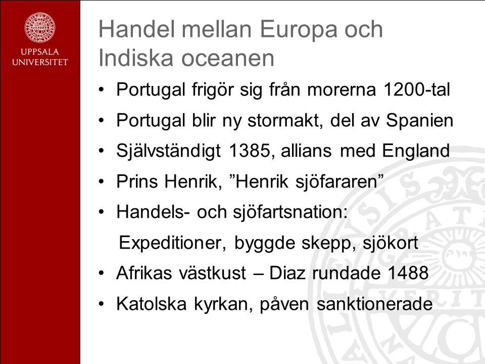 Handel mellan Europa och Indiska oceanen Portugal frigör sig från morerna 1200-tal Portugal blir ny stormakt, del av Spanien Självständigt 1385, allians med England Prins Henrik, Henrik sjöfararen Handels- och sjöfartsnation: Expeditioner, byggde skepp, sjökort Afrikas västkust – Diaz rundade 1488 Katolska kyrkan, påven sanktionerade