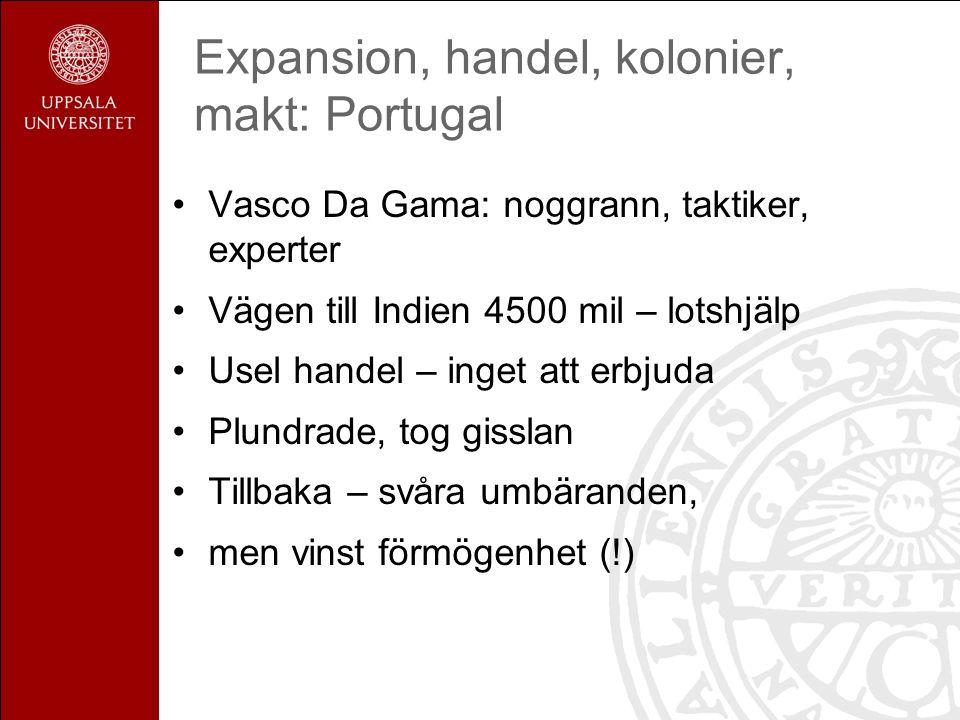 Expansion, handel, kolonier, makt: Portugal Vasco Da Gama: noggrann, taktiker, experter Vägen till Indien 4500 mil – lotshjälp Usel handel – inget att