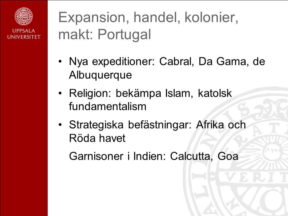 Expansion, handel, kolonier, makt: Portugal Nya expeditioner: Cabral, Da Gama, de Albuquerque Religion: bekämpa Islam, katolsk fundamentalism Strategiska befästningar: Afrika och Röda havet Garnisoner i Indien: Calcutta, Goa