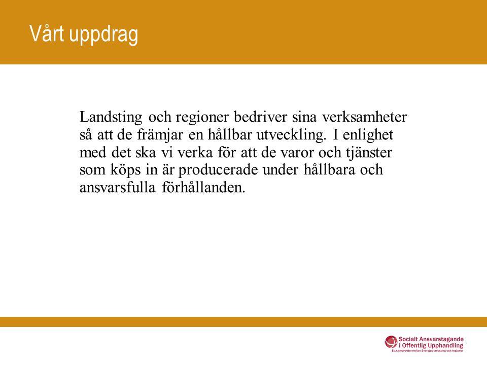 Vårt uppdrag Landsting och regioner bedriver sina verksamheter så att de främjar en hållbar utveckling.