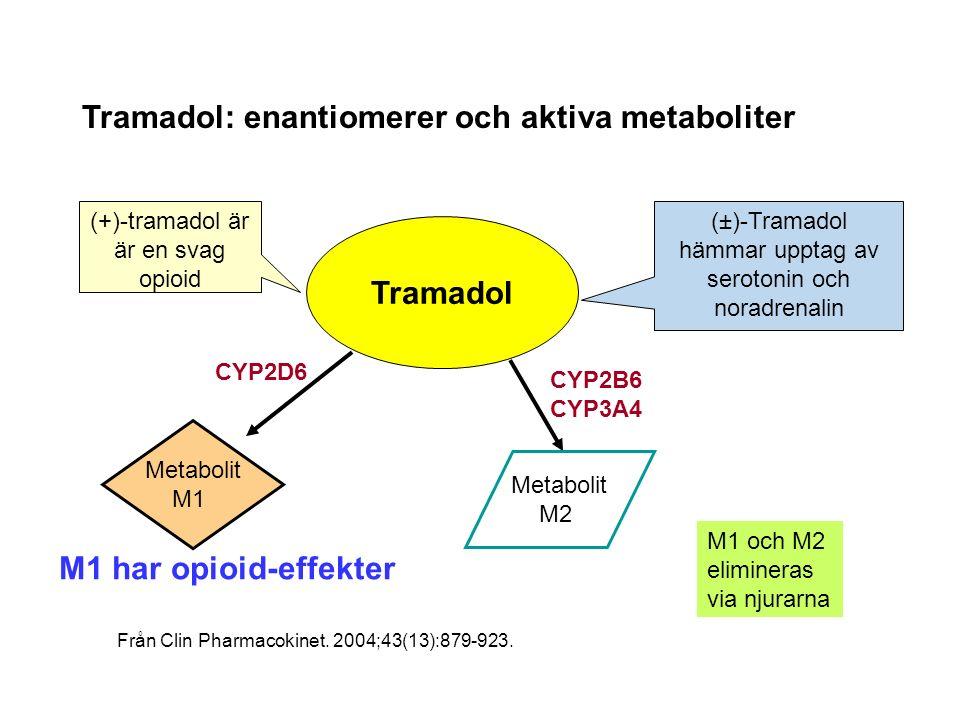 Tramadol: enantiomerer och aktiva metaboliter Tramadol Metabolit M1 Metabolit M2 CYP2D6 CYP2B6 CYP3A4 M1 har opioid-effekter (±)-Tramadol hämmar upptag av serotonin och noradrenalin (+)-tramadol är är en svag opioid M1 och M2 elimineras via njurarna Från Clin Pharmacokinet.
