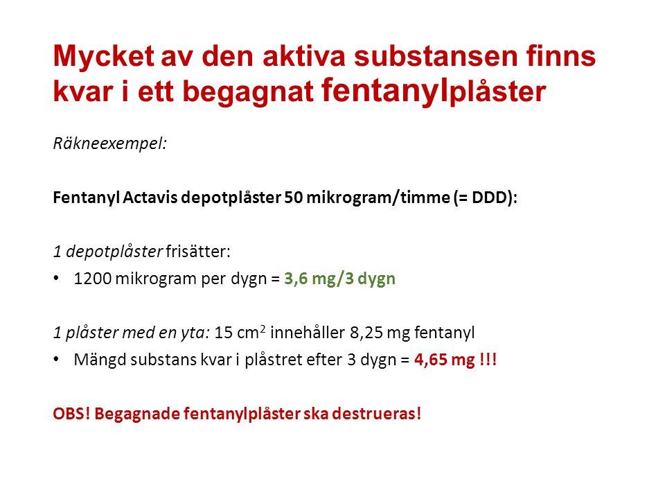 Mycket av den aktiva substansen finns kvar i ett begagnat fentanyl plåster Räkneexempel: Fentanyl Actavis depotplåster 50 mikrogram/timme (= DDD): 1 depotplåster frisätter: 1200 mikrogram per dygn = 3,6 mg/3 dygn 1 plåster med en yta: 15 cm 2 innehåller 8,25 mg fentanyl Mängd substans kvar i plåstret efter 3 dygn = 4,65 mg !!.