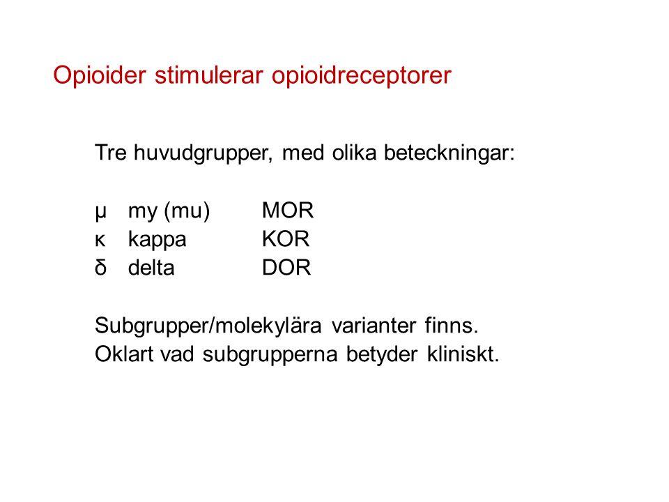 Opioider stimulerar opioidreceptorer Tre huvudgrupper, med olika beteckningar: µmy (mu)MOR κkappaKOR δdeltaDOR Subgrupper/molekylära varianter finns.