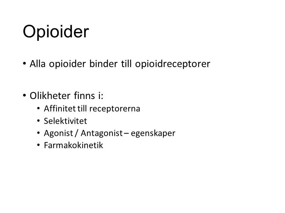 Opioider Alla opioider binder till opioidreceptorer Olikheter finns i: Affinitet till receptorerna Selektivitet Agonist / Antagonist – egenskaper Farmakokinetik