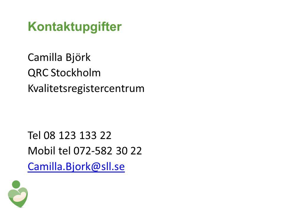 Kontaktupgifter Camilla Björk QRC Stockholm Kvalitetsregistercentrum Tel 08 123 133 22 Mobil tel 072-582 30 22 Camilla.Bjork@sll.se