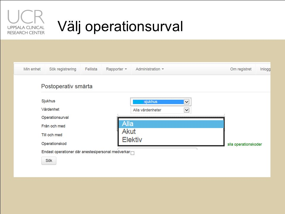 Välj operationsurval