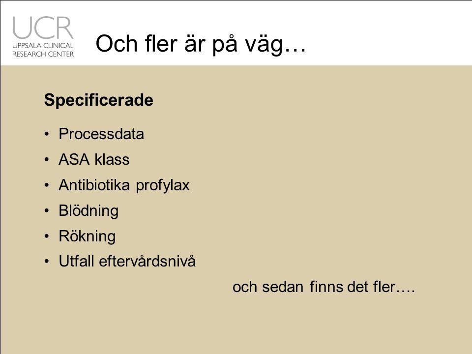 Och fler är på väg… Specificerade Processdata ASA klass Antibiotika profylax Blödning Rökning Utfall eftervårdsnivå och sedan finns det fler….